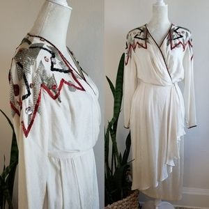 VTG 80's Francesca of Damon Beaded Silk Wrap Dress